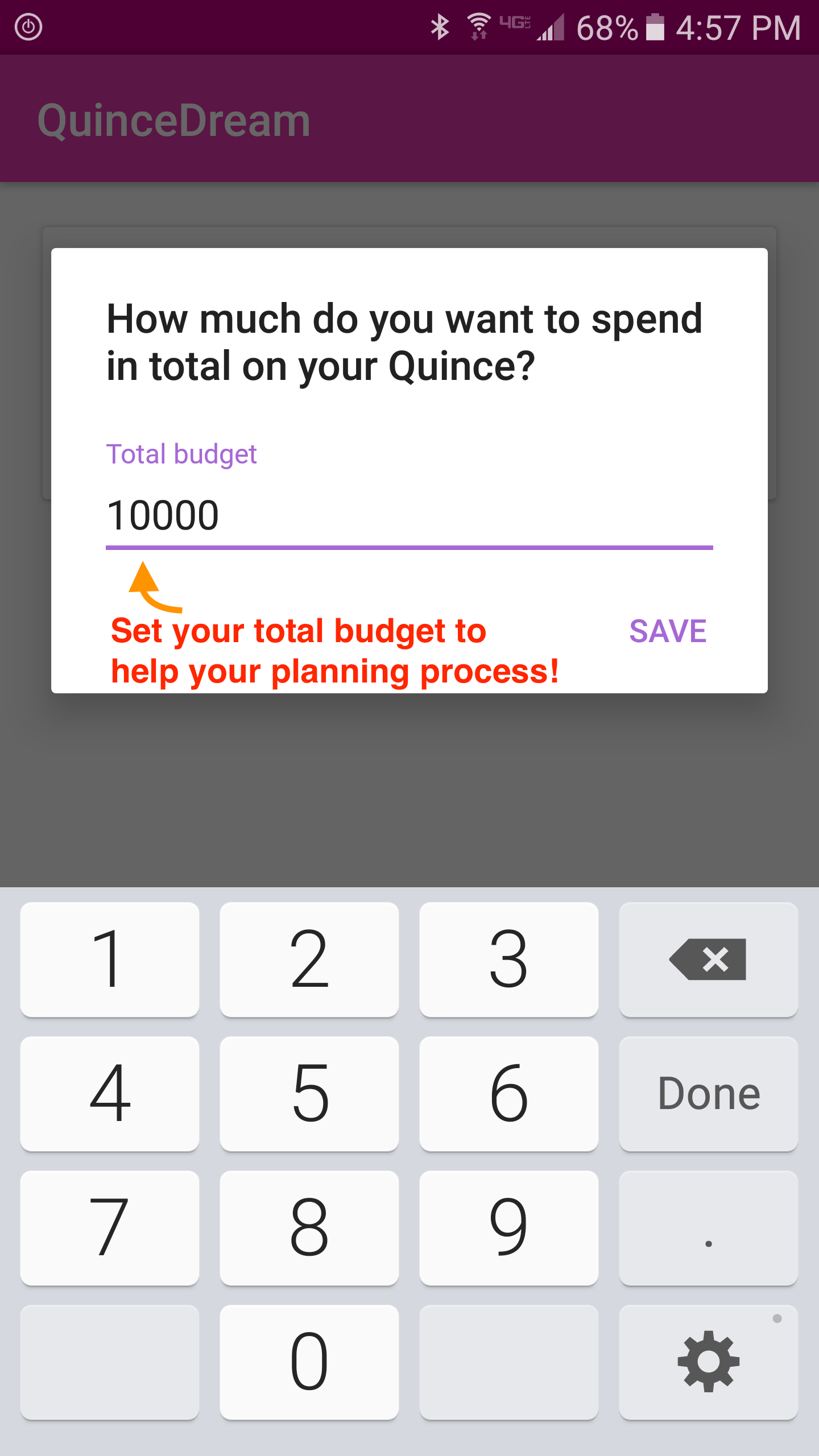 QD Android App Set Total Budget Preview